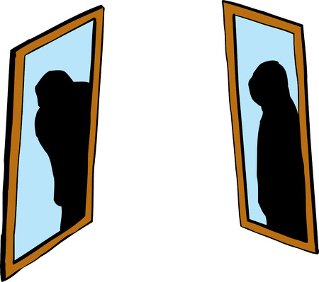 Shadowy figure in pair of facing mirrors over white background