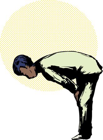 位置をお辞儀イスラムの祈りで黒のイスラム教徒の男に横から見た図