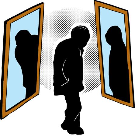 Freehand illustration about senior Black man and discrimination Stock Illustratie