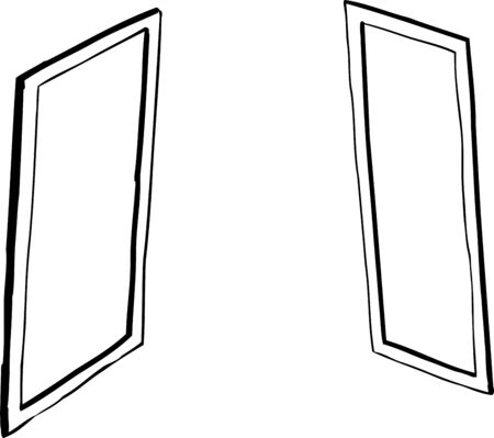 Outline cartoon of facing windows or mirrors over white background
