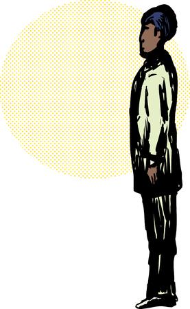 Side view on Black Muslim man in Islamic standing prayer position Ilustração