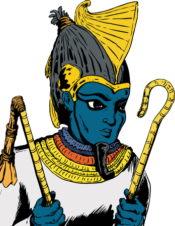 Illustration of Osiris, the Egyptian God, holding his crook and flail