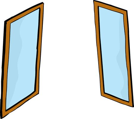 Pair of facing windows or mirrors over white background