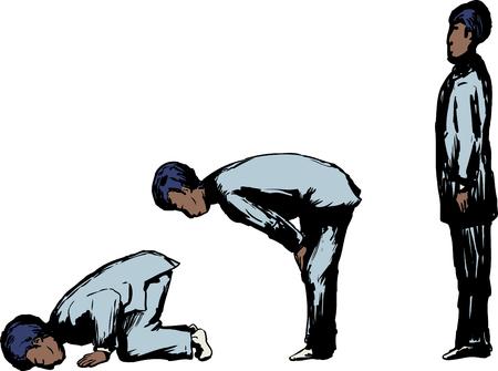 다양한 이슬람기도 위치에 검은 이슬람 남자에 대한 측면보기