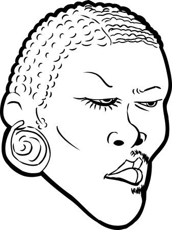 Cartoon outlined face of Black man with half face in makeup over white background