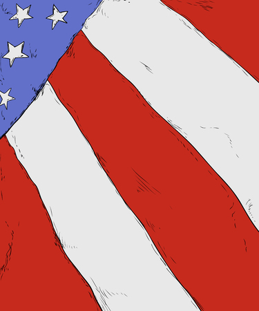 Close up on American flag as background