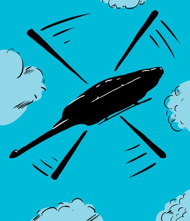 하늘에 비행 헬리콥터에 낮은 각도보기의 만화 일러스트