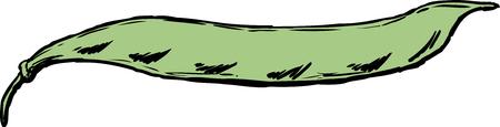 Fresh green beans in pod cartoon over white background. Stock Illustratie
