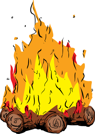 Tall flames on bonfire or campfire over white background