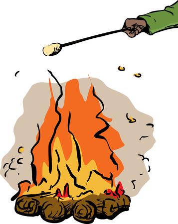 Illustration of hand holding marshmallow stick over single burning hot campfire