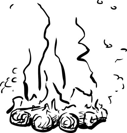 Single burning hot campfire doodle outline over white background