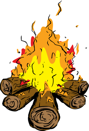 Logs as part of burning hot campfire over white background