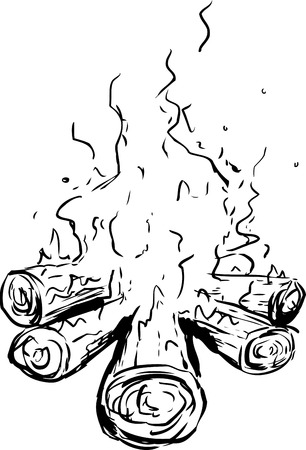 Outline sketch of logs as part of burning hot campfire over white background