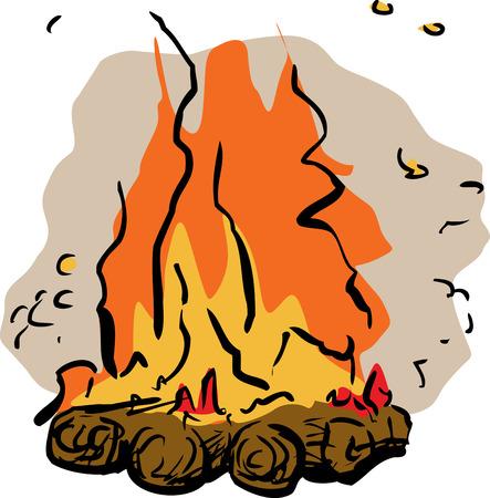 Single burning hot campfire illustration over white background