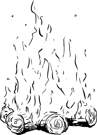 Outline sketch of tall flames on bonfire or campfire over white background