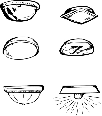 Set of six hand drawn cartoon outline ceiling lamps over white background Stock Vector - 83884247