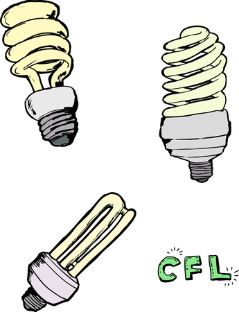 Various sketches of compact fluorescent light bulbs over white background