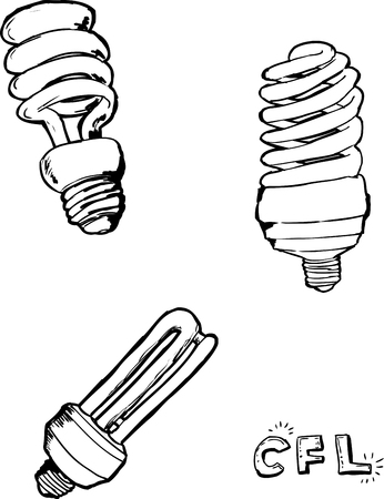 Outlined sketches of compact fluorescent light bulbs over white background