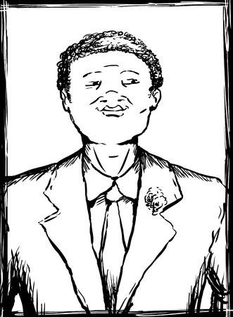 Outline illustration portrait of smiling young African American man in business suit and necktie