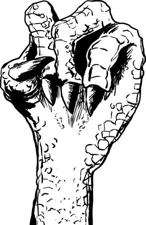 ホワイト バック グラウンド clenched うろこ状トカゲ手のために近くの輪郭を描かれたスケッチ  イラスト・ベクター素材