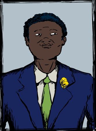 Illustration portrait of proud and smiling African American man in business suit