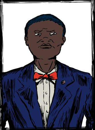 Illustration sketch of young African American Nation of Islam male in suit and tie
