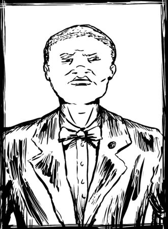 Outlined sketch of young African American Nation of Islam male in suit and tie