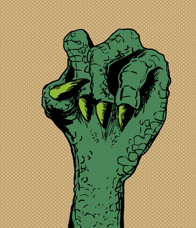 Close up on clenched green lizard hand over brown halftone background