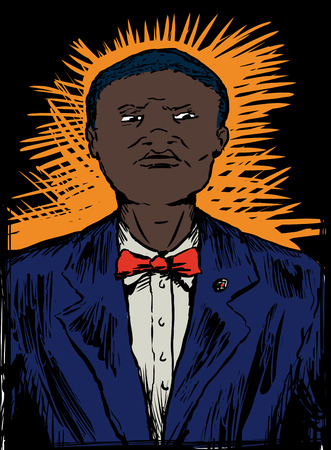 Strict African American Nation of Islam male in suit and bowtie Stock Illustratie
