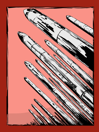 Hand drawn arsenal of nuclear missiles pointing upward Illustration