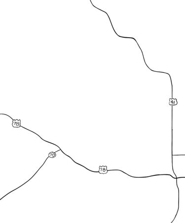 Outlined hand drawn map of county roads for part of Georgia in the United States