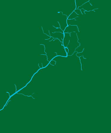 Part of the Chattahoochee River over green map in Georgia, USA