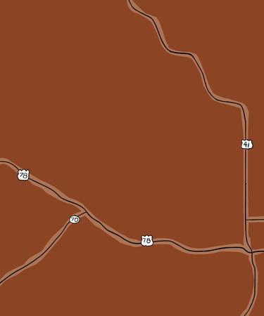 米国ジョージア州の一部の郡道路の茶色の手描きの地図