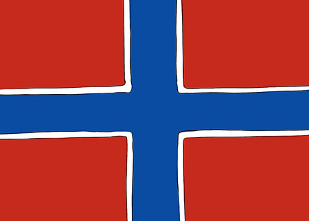Symmetrical centered version of a Nordic Cross flag representing Norway Stock Illustratie