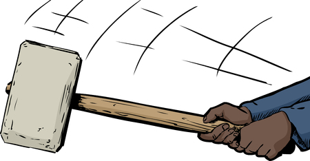 Pair of hands wielding a large sledge hammer over white Stock Illustratie