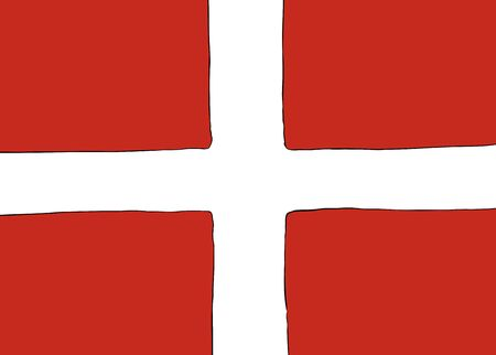 Symmetrical centered version of a Nordic Cross flag representing Denmark Ilustração