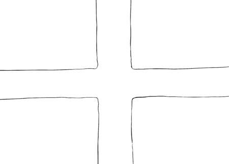 Symmetrical centered version of a Nordic Cross flag as outline Stock Illustratie