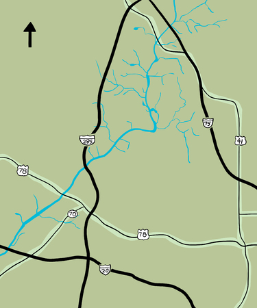 Chattahoochee River and various highways on map of Georgia, USA