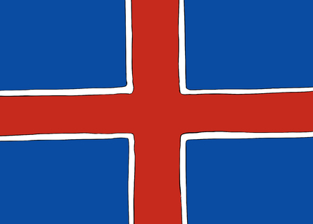 Symmetrical centered version of a Nordic Cross flag representing Iceland