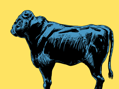 The ancient black stone bull idol representing the Akkadian King of the Gods over yellow background