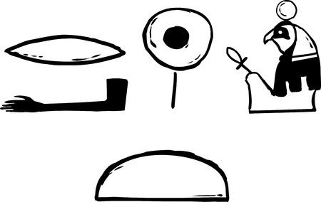 Rah의 고대 이집트 상형 문자와 격리 된 흰색 배경 위에 음성학 개요