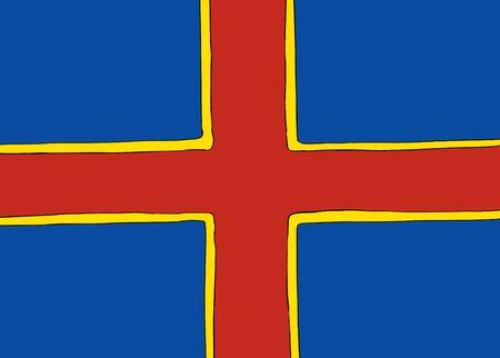 Symmetrical centered version of a Nordic Cross flag representing Ahvenanmaa Illustration