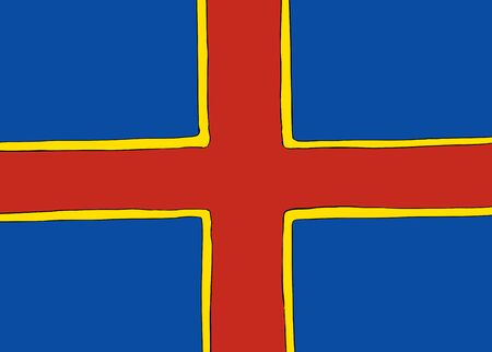 Symmetrical centered version of a Nordic Cross flag representing Ahvenanmaa Stock Illustratie