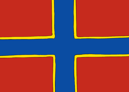 Symmetrical centered version of a Nordic Cross flag representing the Orkney Islands