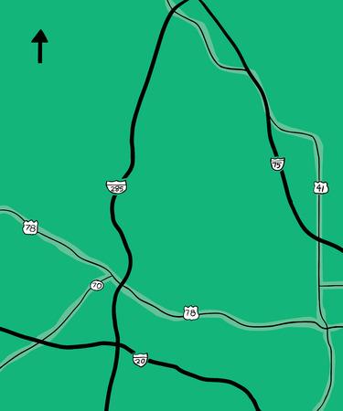 ジョージア州の一部の州間道路と郡道路の手描きの地図, アメリカ合衆国