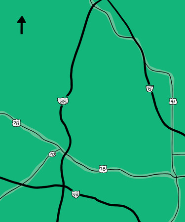 Hand drawn map of interstate and county roads in part of Georgia, United States