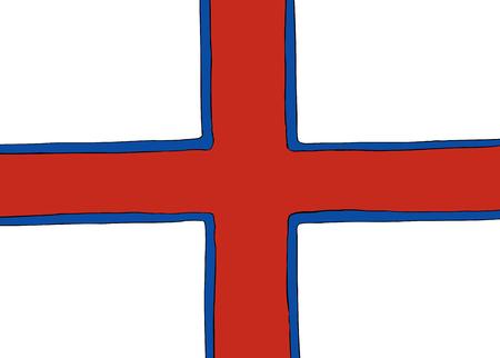 フェロー諸島を表す北欧十字フラグの対称中心バージョン