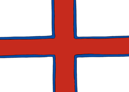 Symmetrical centered version of a Nordic Cross flag representing the Faroe Islands Stock Vector - 91795224