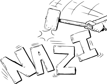 Outline of large mallet in hands breaking up the word Nazi over white Stock Illustratie