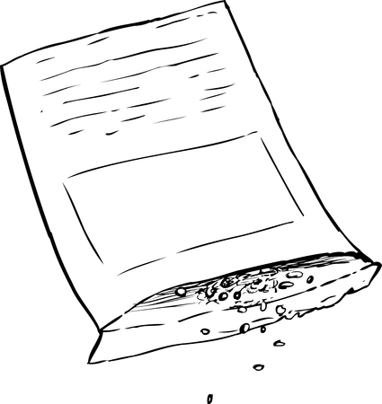 Single outlined package with vegetable garden seeds pouring out